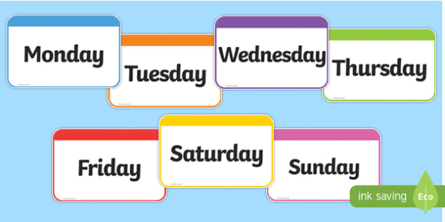 Days of the Week Flashcards - days, week, flashcards, cards