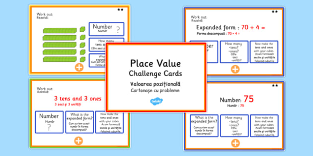 Place Value Maths Challenge Cards Romanian Translation - romanian, place value, maths, numeracy