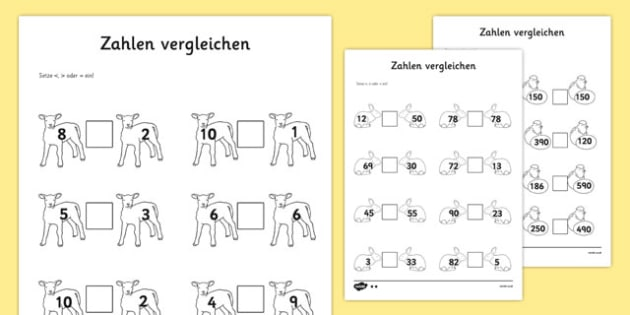 Zahlen vergleichen Spring Number Comparison Activity Sheet German - german, spring, number comparison, worksheet, number, comparison