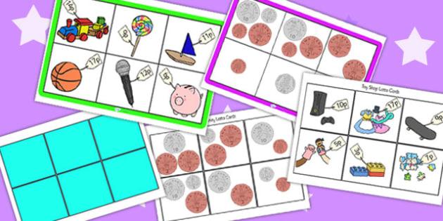 Toy Shop Bingo Up To Twenty Pack - toy shop, bingo, 0-20, to twenty, bingo pack, lotto pack, lotto, money, money games, maths games, numeracy, maths, games