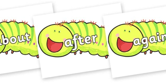 KS1 Keywords on Crunching Munching Caterpillar to Support Teaching on The Crunching Munching Caterpillar - KS1, CLL, Communication language and literacy, Display, Key words, high frequency words, foundation stage literacy, DfES Letters and Sounds, Le