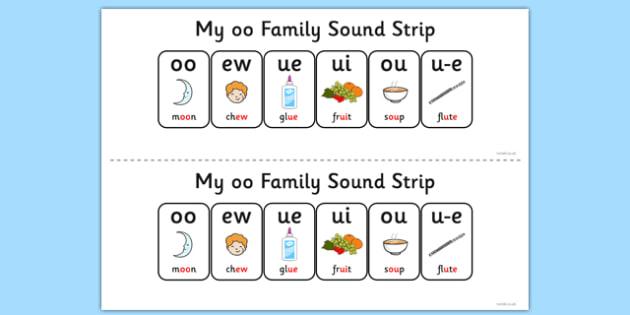 My OO Sound Family Strip - Sound family, OO, alternate spellings, alternate spellings for phonemes, family, sounds, phoneme, phonemes