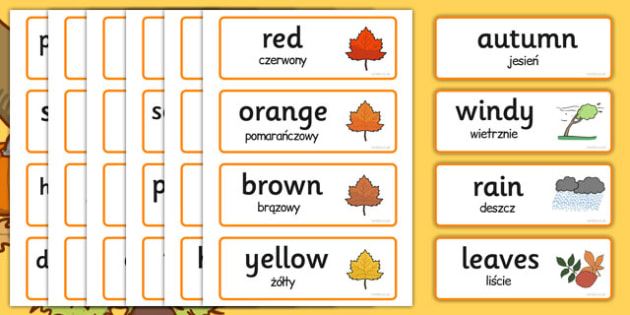 Autumn Topic Word Cards Polish Translation - polish, autumn, topic, words