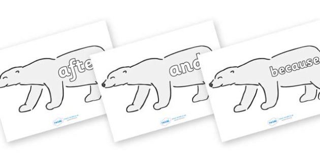 Connectives on Polar Bears - Connectives, VCOP, connective resources, connectives display words, connective displays