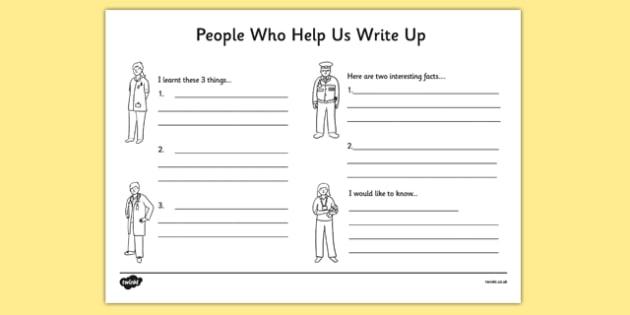 People Who Help Us Write Up Work Sheet - writing template, write