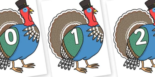 Numbers 0-31 on Turkey Lurky - 0-31, foundation stage numeracy, Number recognition, Number flashcards, counting, number frieze, Display numbers, number posters
