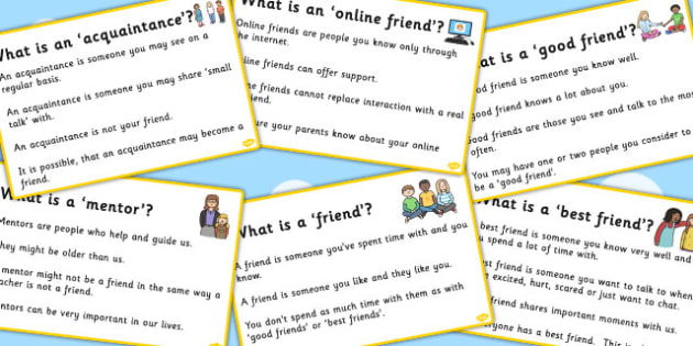 Types Of Friendship Description Cards - friends, friendships, SEN