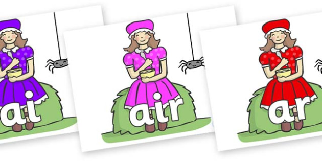 Phase 3 Phonemes on Little Miss Muffet - Phonemes, phoneme, Phase 3, Phase three, Foundation, Literacy, Letters and Sounds, DfES, display