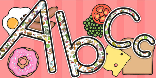 Food Themed Display Letters Uppercase - food display, letter