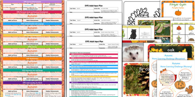 EYFS Autumn Themed Bumper Planning Pack - seasonal, early years, plane, theme, reources, pack, display, activities, work, sheets, inspiration