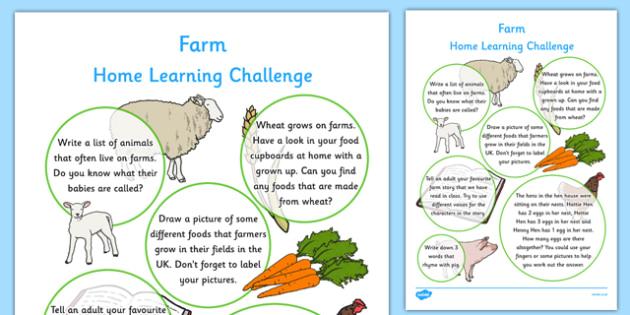 EYFS Farm Home Learning Challenge Sheet Reception FS2 - eyfs, farm, home learning, challenge