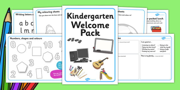 Kindergarten Welcome Pack - Back to school, welcome pack, welcome, starting school, all about me, about me, starting nursery, starting KS1