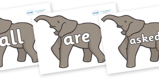 Tricky Words on Elephants - Tricky words, DfES Letters and Sounds, Letters and sounds, display, words