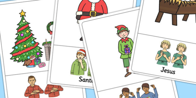 British Sign Language Christmas Sign Posters Left Handed - poster