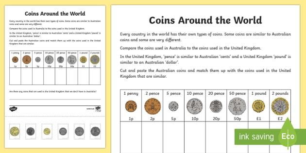 Coins Around the World Cut and Paste Activity Sheet - Australian currency, Australian coins, Australian money, ACMNA017, Australia