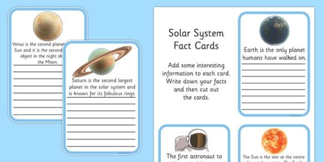 Finish the Solar System Fact Cards - australia, solar, system