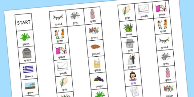 GR Board Game -speech sounds, phonology, articulation, speech therapy, cluster reduction, clusters, blends