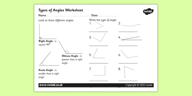 Acute and Obtuse Angles Worksheet - angles, angles worksheet, acute and obtuse angles, different angles worksheet, shapes worksheet, ks2 numeracy worksheet