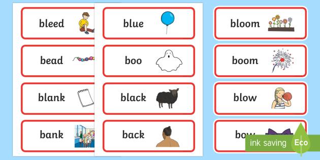 'bl' and 'b' Near Minimal Pair Word Cards - phonology, articulation, cluster articulation, cluster simplification, minimal pairs