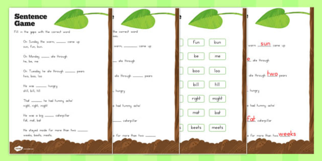 Sentence Worksheet to Support Teaching on The Very Hungry Caterpillar - australia, hungry, caterpillar