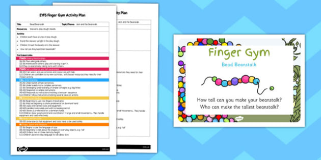 EYFS Bead Beanstalk Finger Gym Activity Plan and Prompt Card Pack
