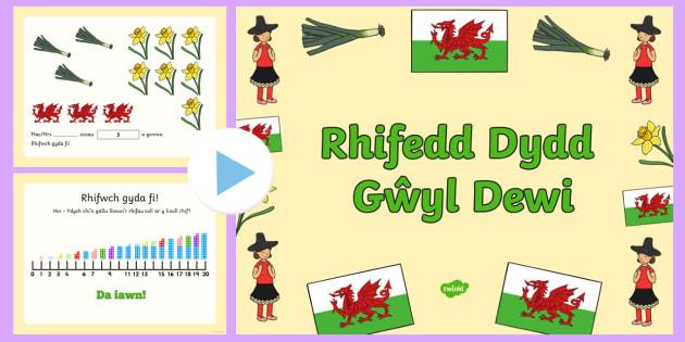 Pŵerbwynt Pŵerbwynt Rhifedd Meithrin/Derbyn Dydd Gŵyl Dewi  - dewi sant, rhifedd, meithrin, derbyn, adio, cyfri, gwyl, dewi, mawrth,Welsh.