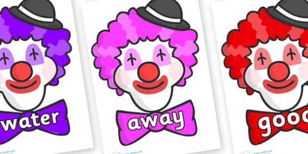 Next 200 Common Words on Clown Faces - Next 200 Common Words on  - DfES Letters and Sounds, Letters and Sounds, Letters and sounds words, Common words, 200 common words