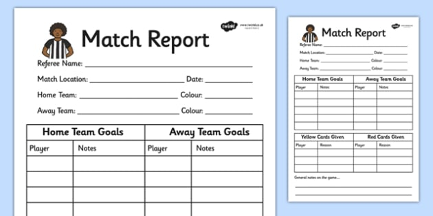 Football World Cup Role Play Match Report Writing Frame - sport