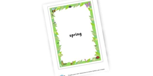 Spring Spidergram - Spring Primary Resources, season, seasons, lambs, new life, growth