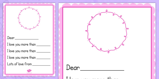 I Love You More Than... Mother's Day Card Template Blank