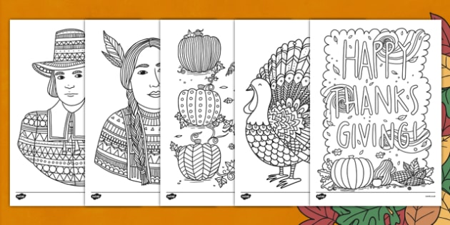 Adult Colouring Mindfulness Thanksgiving Themed Sheets - colouring, pd, fine motor skills, well being, stress, relax, unwind, early years, ks1, ks2, art, home learning, display, USA, american, holidays,