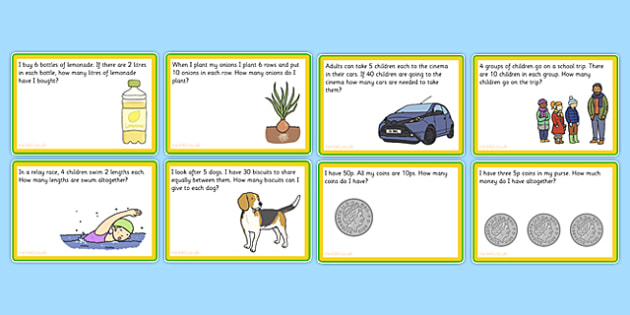 Multiplication and Division Challenge Cards - times table, divide