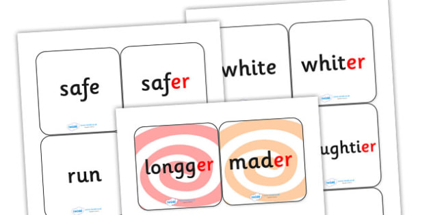 Suffix Matching Cards er - suffixes, suffix, suffix matching cards, prefixes and suffixes, suffix er, suffix game, suffix activity, words ending in er, ks2