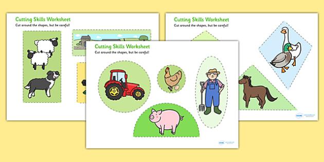 Farm Themed Cutting Skills Worksheets - cut, fine motor skills