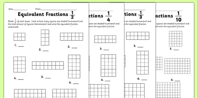 Equivalent Fractions Worksheet - equivalent fractions, worksheet