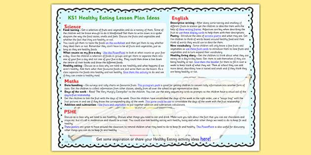 Healthy Eating Lesson Plan Ideas KS1 - healthy eating, lesson plan, lesson plan idea, lesson ideas, lesson planning, teaching plan, KS1 lesson plans, KS1