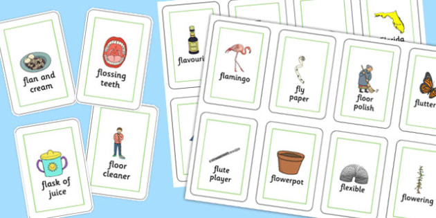 Three Syllable FL Playing Cards - three syllable, fl, playing cards, play, cards, speech, language