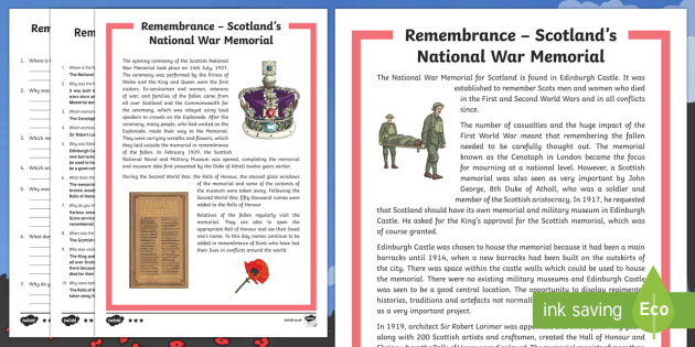 Remembrance  Scotland's National War Memorial Differentiated Reading Comprehension