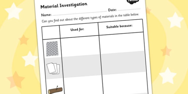 Material Investigation Worksheet - material, investigate, science