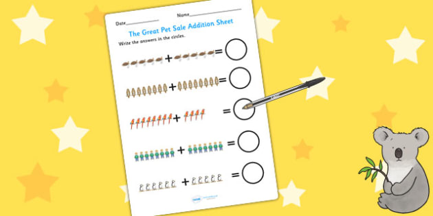 Up to 20 Addition Sheet to Support Teaching on The Great Pet Sale - pets, animals, add