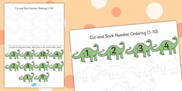Dinosaur Themed Cut and Stick Number Ordering Activity 1-10 - cut