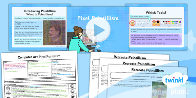 PlanIt - Computing Year 2 - Computer Art Lesson 1: Pixel Pointillism Lesson Pack - computer art, digital art, Georges Seurat, pointillism, dots, colours, brush