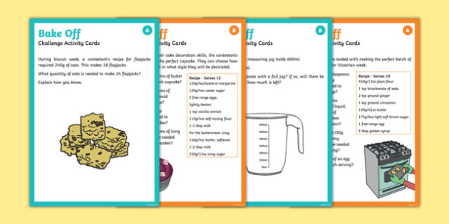 Bake Off KS2 Differentiated Maths Challenge Cards