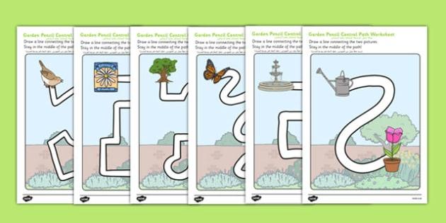 Garden Pencil Control Path Worksheets Arabic Translation - arabic, garden, outside, back garden, home