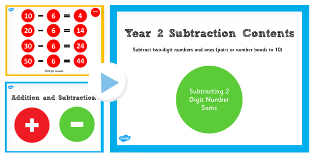 Year 2 Subtracting 2 Numbers and Ones Pairs and Bonds Number Sums