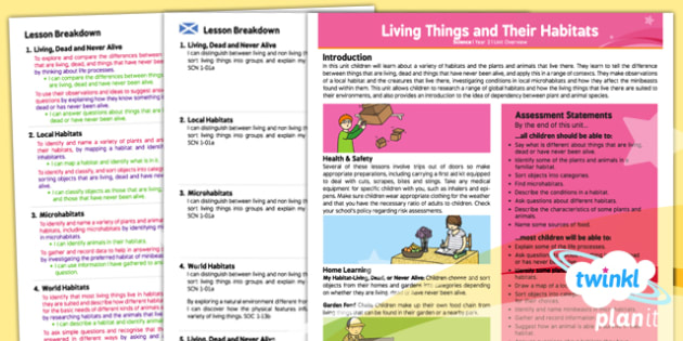 PlanIt - Science Year 2 - Living Things and Their Habitats Planning Overview CfE - CfE, planit, living things, animals, habitats, food chains, classification