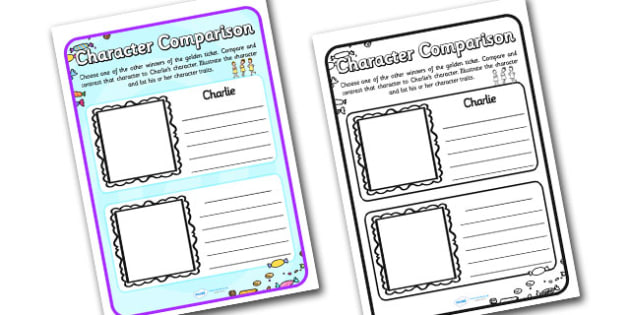 Character Comparison Worksheets to Support Teaching on Charlie and the Chocolate Factory - charlie and the chocolate factory, character comparison, comparison worksheets