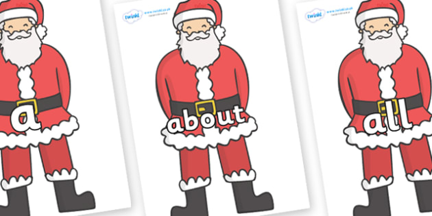 100 High Frequency Words on Father Christmas - High frequency words, hfw, DfES Letters and Sounds, Letters and Sounds, display words