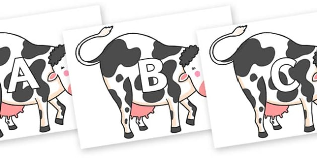 A-Z Alphabet on Hullabaloo Cow to Support Teaching on Farmyard Hullabaloo - A-Z, A4, display, Alphabet frieze, Display letters, Letter posters, A-Z letters, Alphabet flashcards
