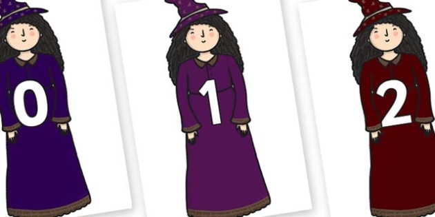 Numbers 0-100 on Witches - 0-100, foundation stage numeracy, Number recognition, Number flashcards, counting, number frieze, Display numbers, number posters
